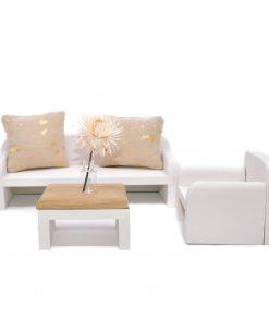felou family houses houten salontafel met bank en stoel Sassefras