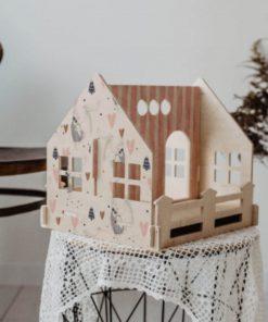 poppenhuis van zesklejki met print Sassefras