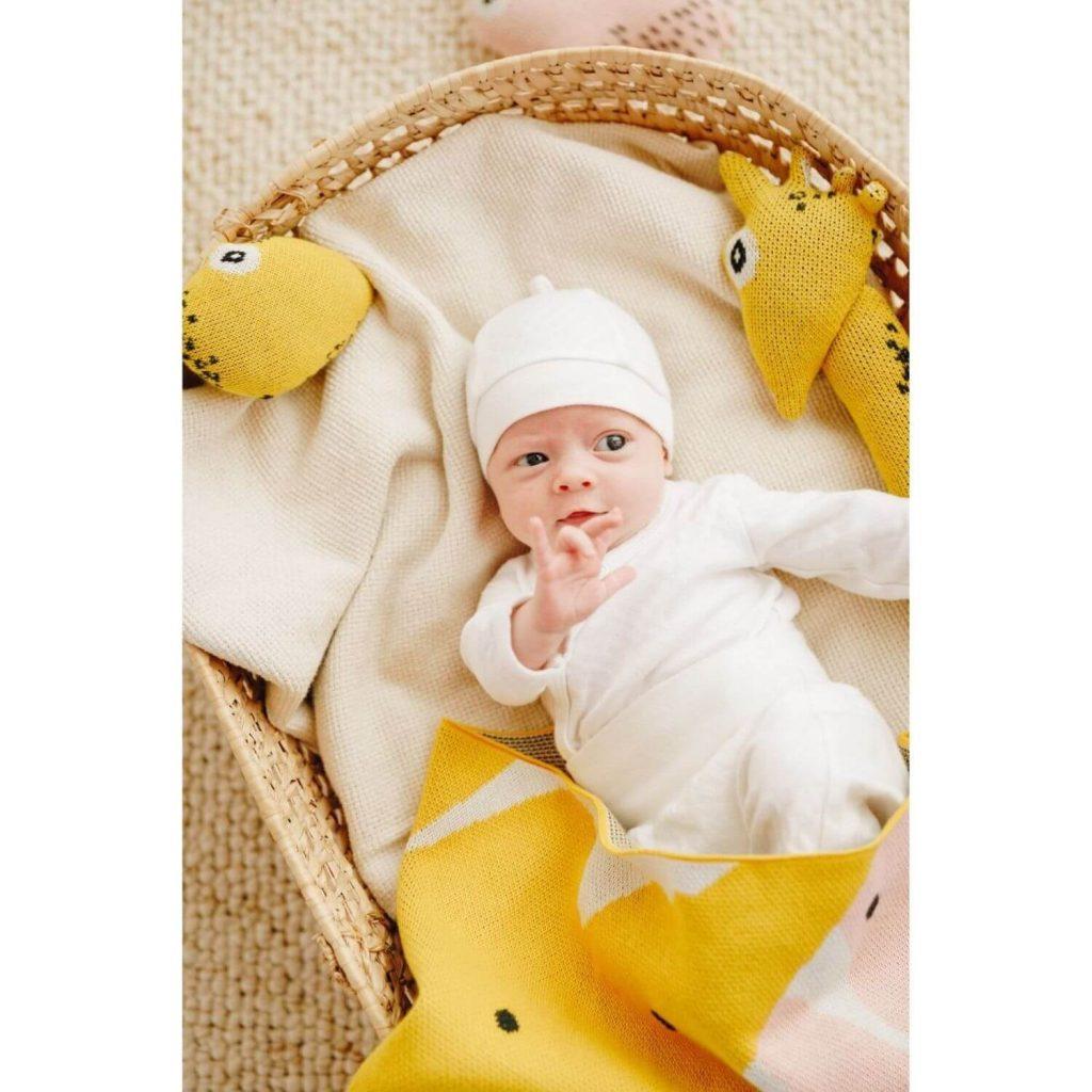 Nordic Lemon biologische baby knuffel giraffe met baby Sassefras