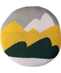 ronde kinder sierkussen met bergen print Sassefras